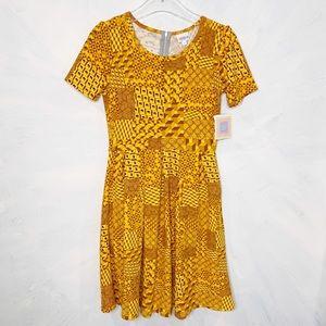 Lularoe Amelia Gold Geometric Dress